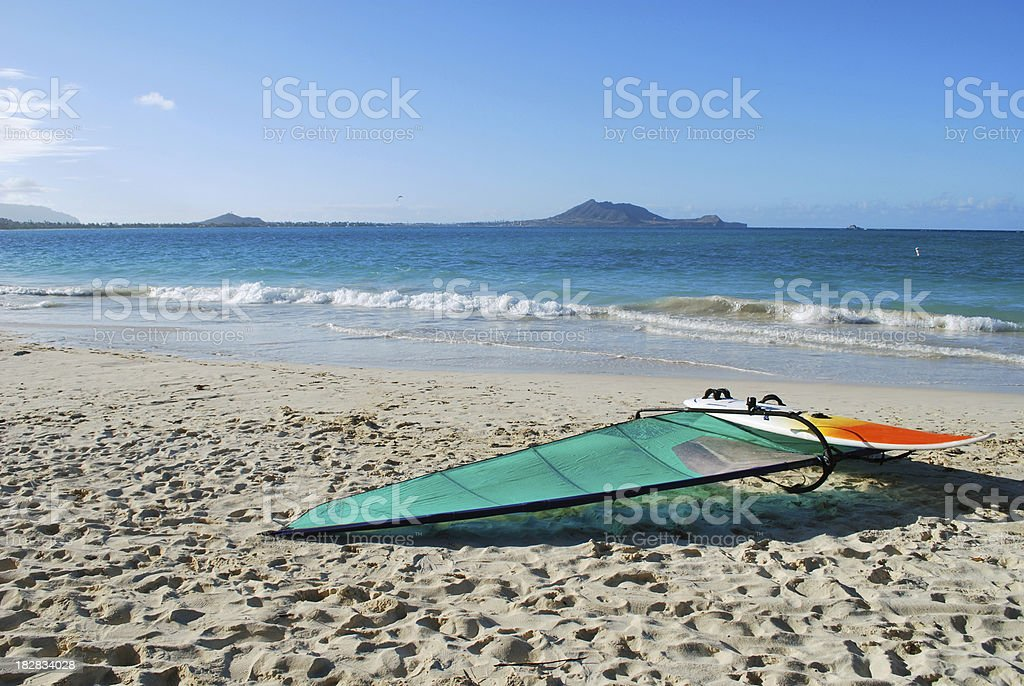 Windsurfer on Kailua Beach, Oahu stock photo