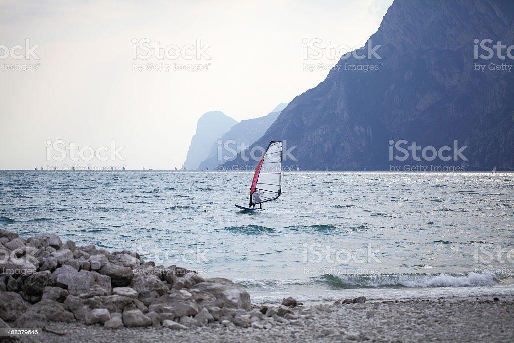 Windsurfer on Lake Garda,Italy stock photo