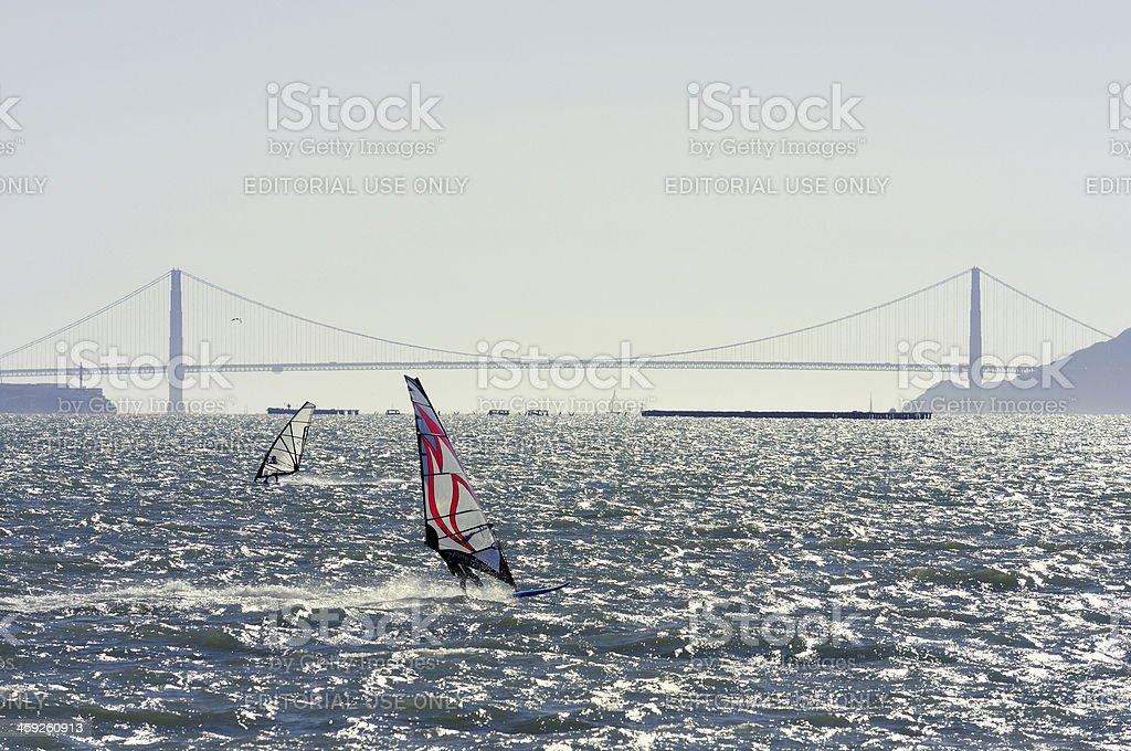 Windsurfers in front of Golden Gate Bridge, San Francisco. royalty-free stock photo