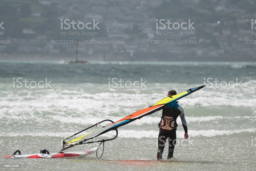 Windsurfers in Mounts bay, Cornwall royalty-free stock photo