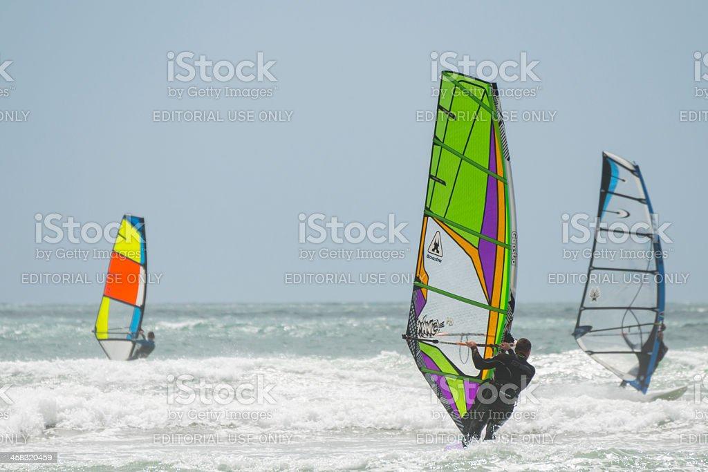 Windsurfers in Mounts Bay, Cornwall royalty-free stock photo