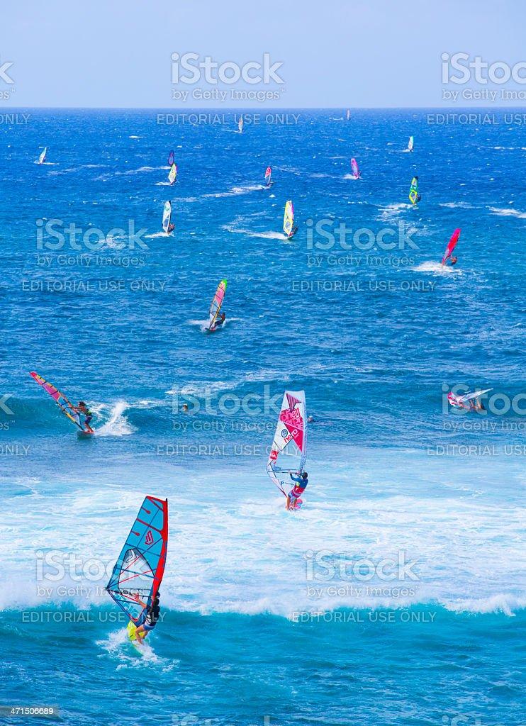 Windsurfers off  Ho'okipa Beach, Maui, Hawaii stock photo