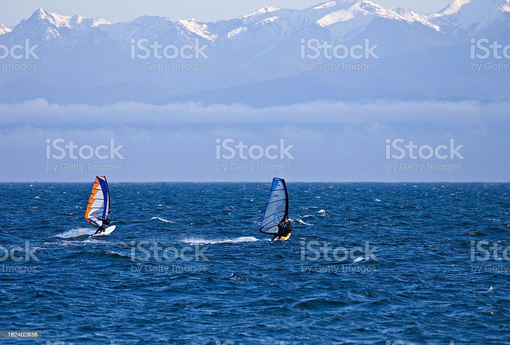Windsurfers, Sea, Olympic Mountains royalty-free stock photo