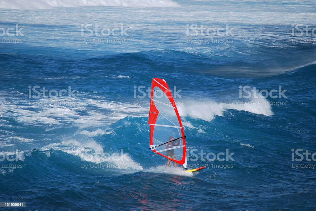 Windsurfing at Hookipa Beach Park in Maui stock photo