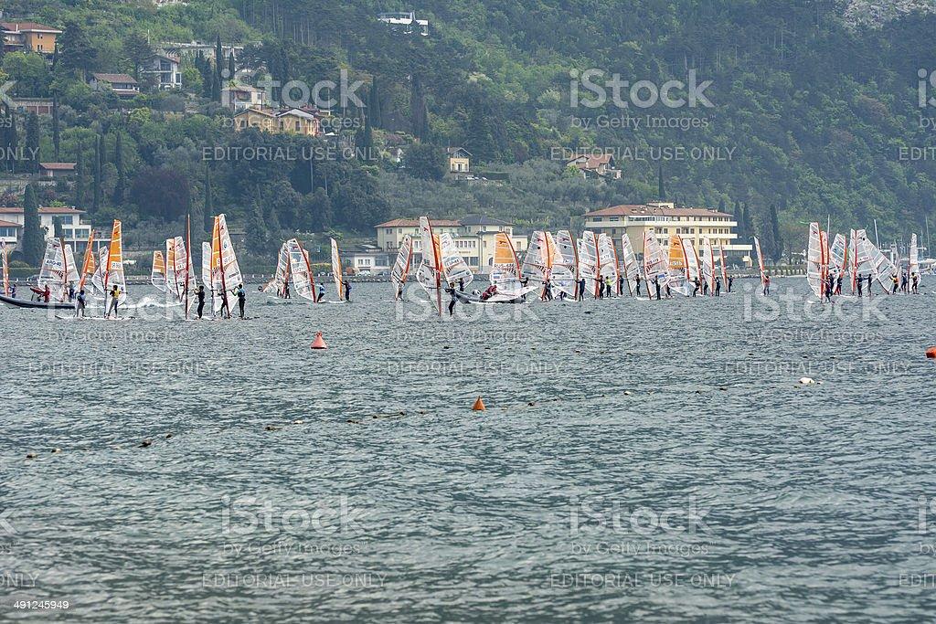 Windsurfing at Lake Garda stock photo