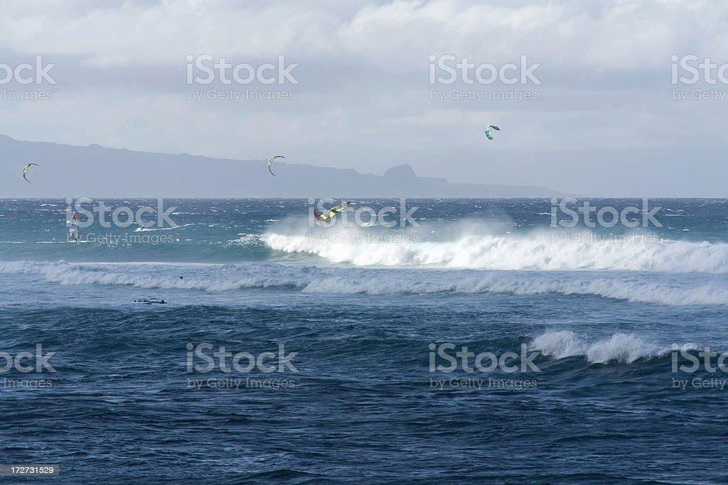 Windsurfing in Hawaii stock photo