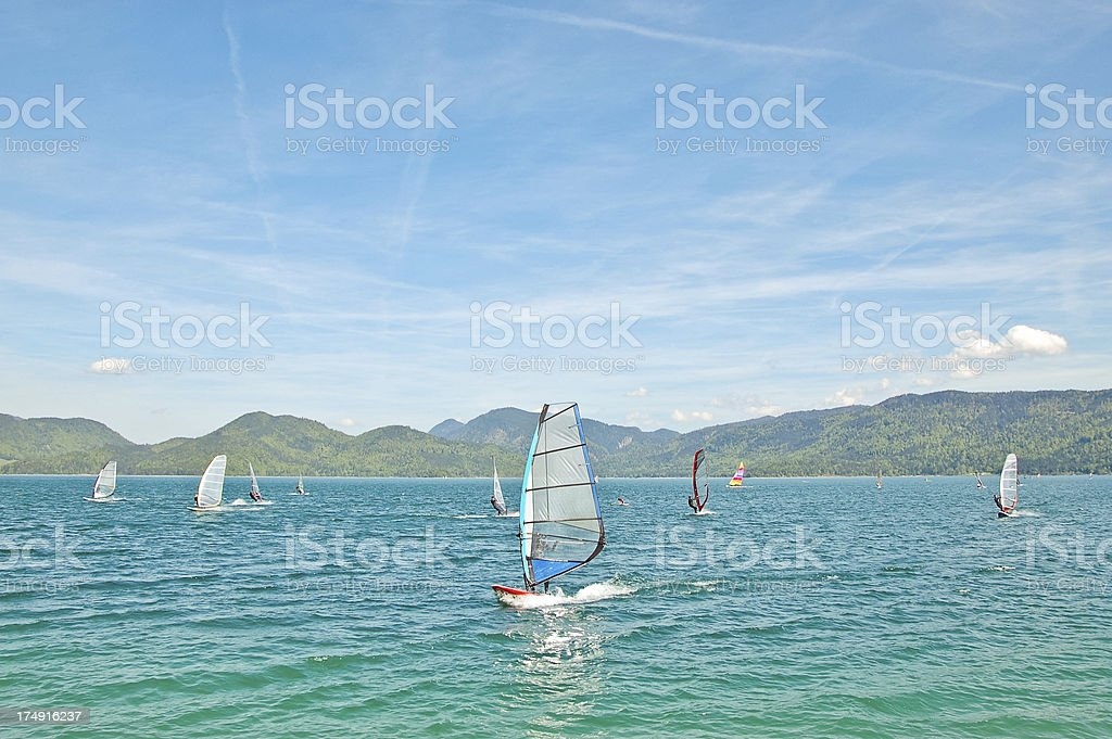 Windsurfing in the lake stock photo