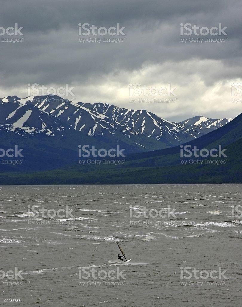 Windsurfing in Turnagain Arm - Anchorage, Alaska stock photo