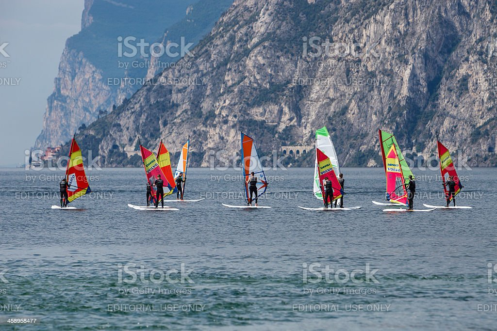 Windsurfing Lesson, Lake Garda stock photo