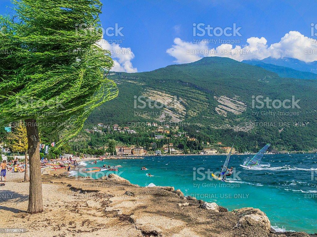 Windsurfing on Lake Garda stock photo