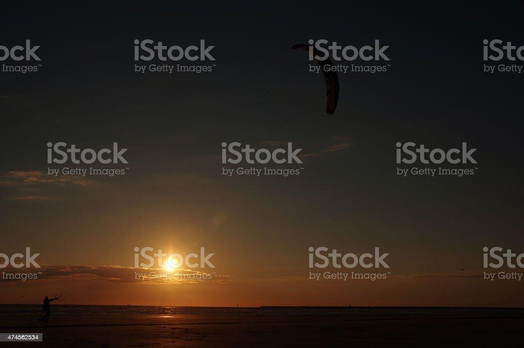 Windsurfing on the beach stock photo