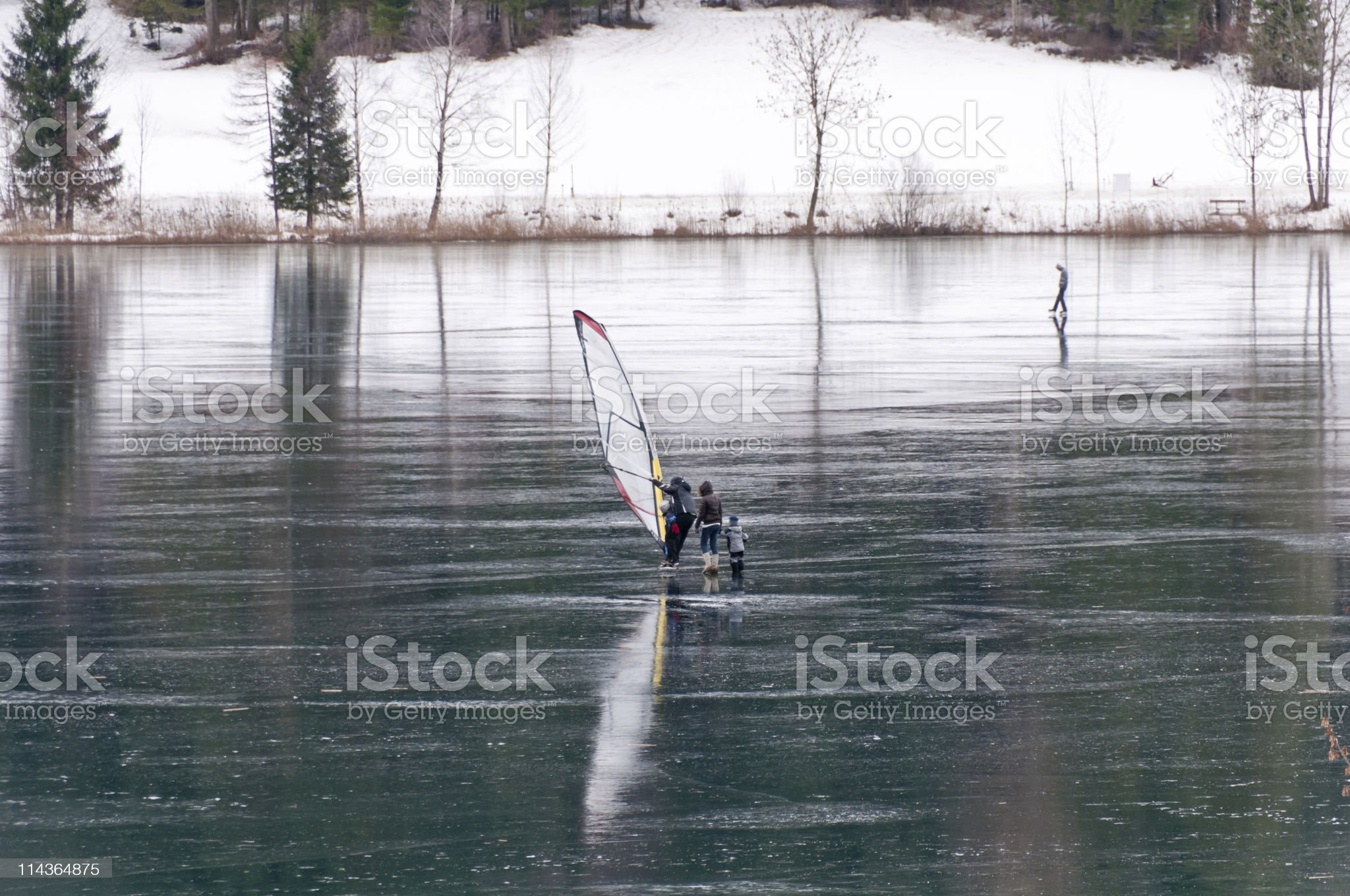 Windsurfing on the ice royalty-free stock photo