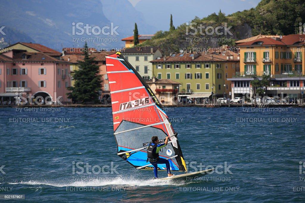 windsurfing pro-rider at Lake Garda stock photo