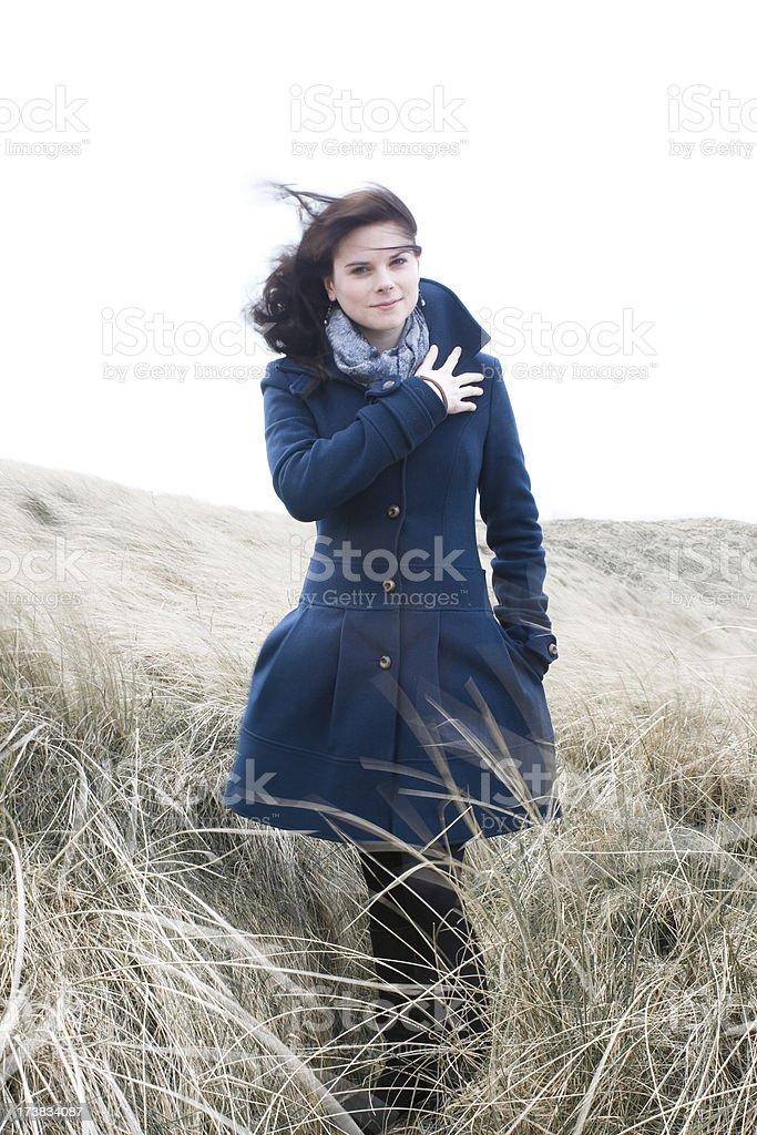Windswept girl stock photo