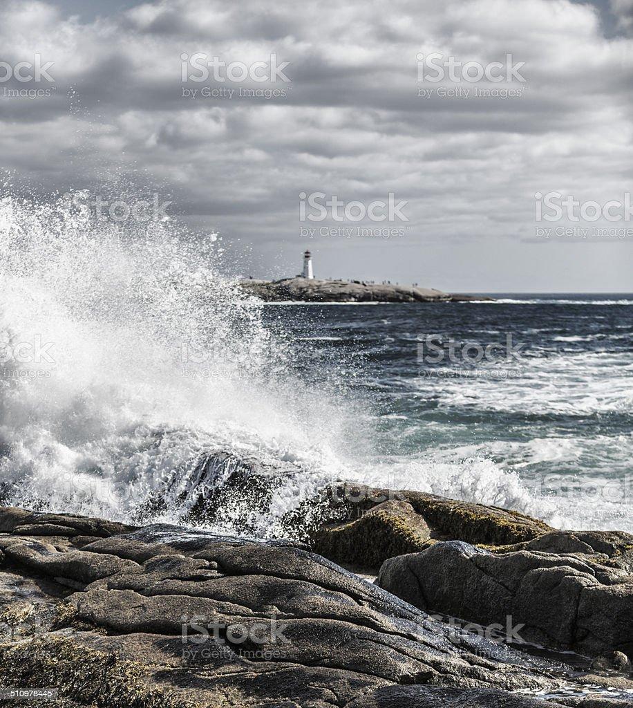 Windswept Surf at Peggys Cove Nova Scotia Canada stock photo