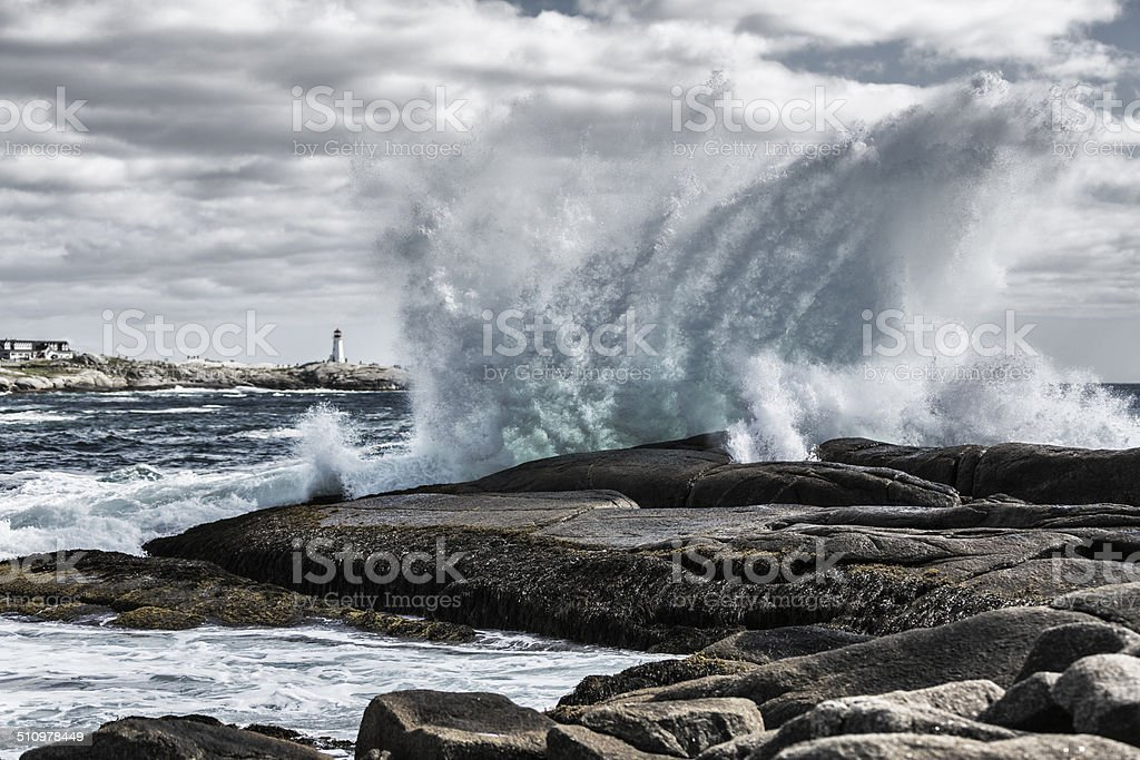 Windswept Surf at Peggys Cove stock photo