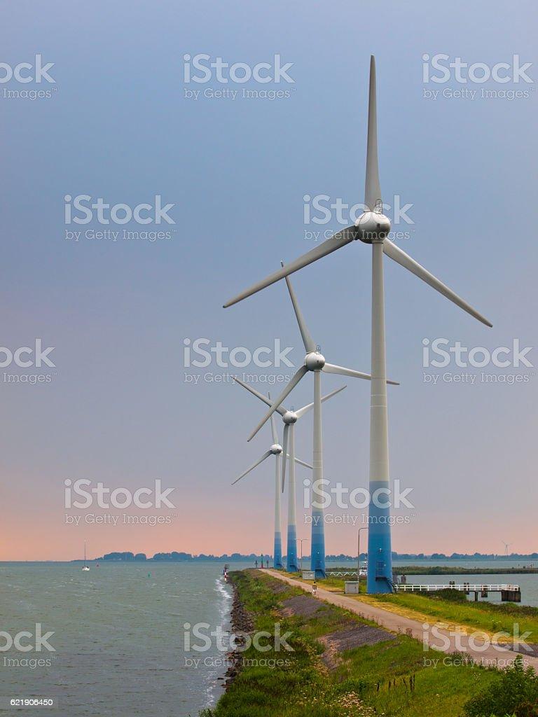 Windturbines on a Pier stock photo