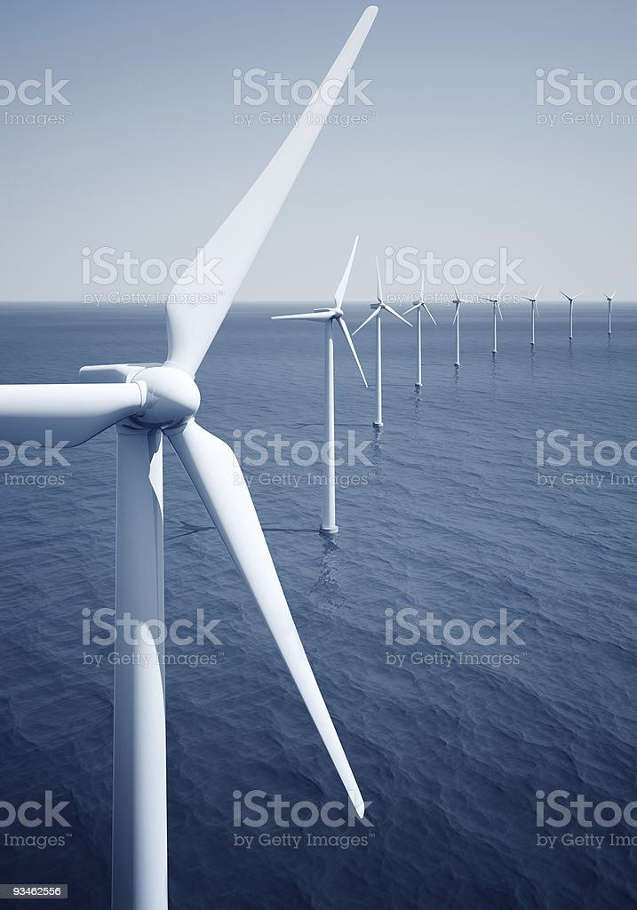 Windturbines on the ocean royalty-free stock photo