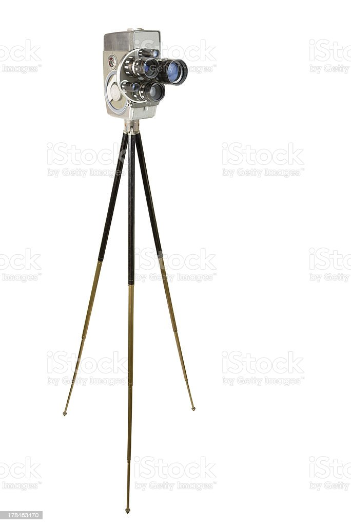 Wind-up 16mm Movie Camera and Tripod stock photo