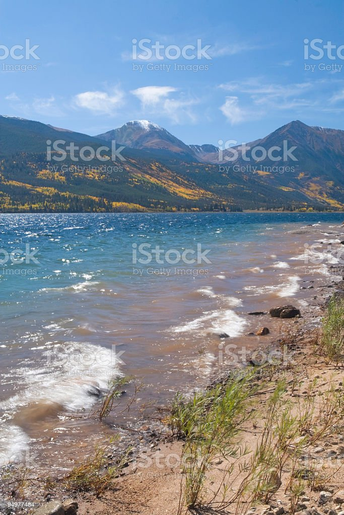 Windy Autumn Day at Twin Lakes stock photo
