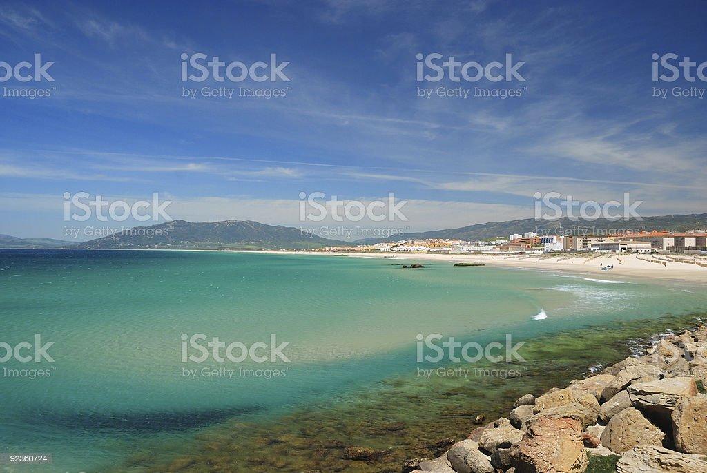 Windy bay of Tarifa royalty-free stock photo