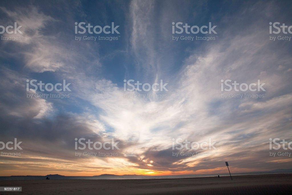 Windy Beach Sunset royalty-free stock photo