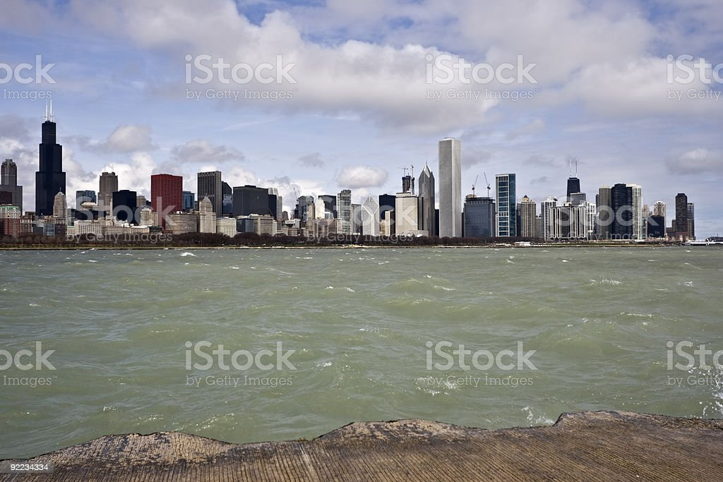 Windy Chicago stock photo