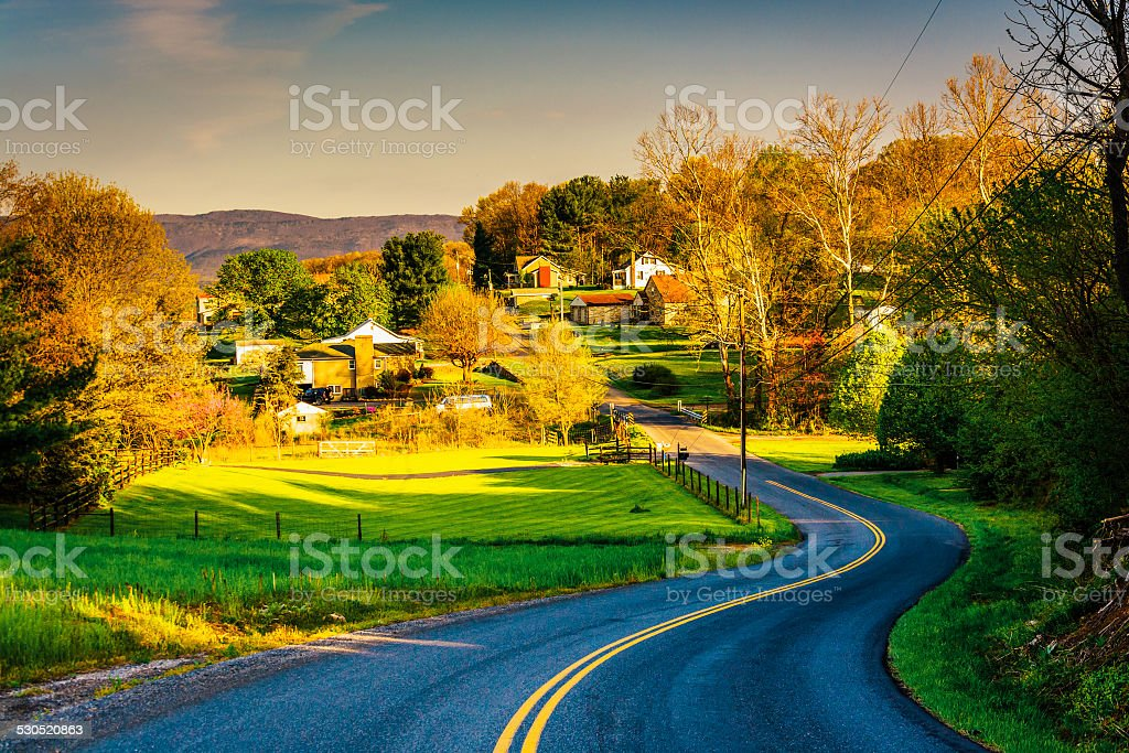 Windy country road in the Shenandoah Valley, Virginia. stock photo