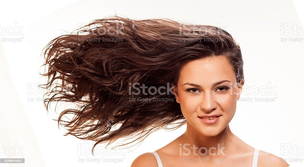 windy hair stock photo