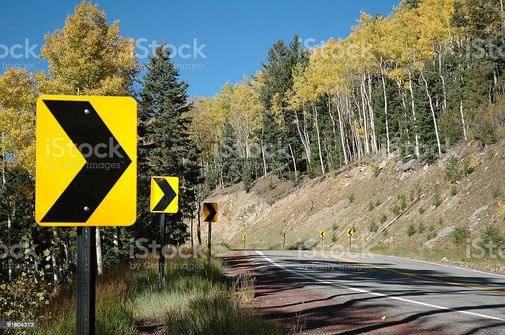 Windy Mountain Road with Aspens royalty-free stock photo