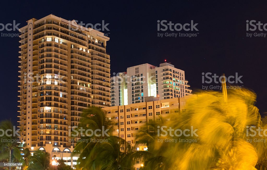Windy Night in South Florida stock photo