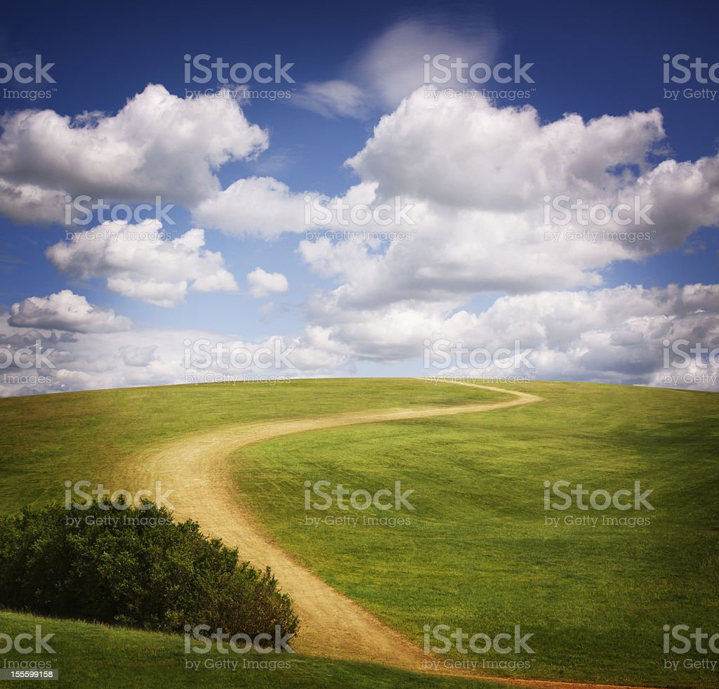 Windy Path Up Green Hill stock photo