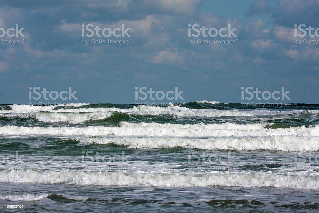 Windy Seashore, High Waves stock photo