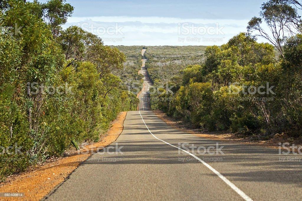 Windy wavy roadway, Cape du Couedic road on Kangaroo Island stock photo