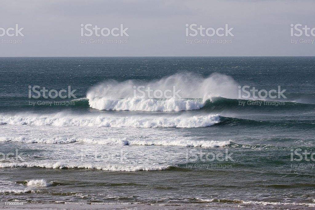 Windy wintery waves on the Cornish coast stock photo