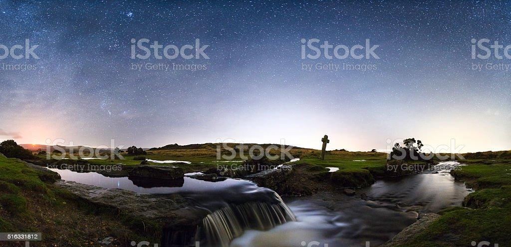 Windypost Cross - Dartmoor stock photo