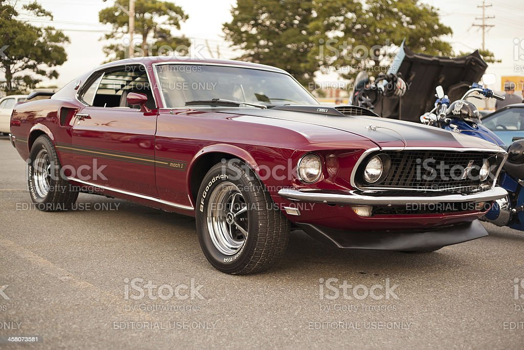 Wine 1969 Ford Mustang Mach 1 stock photo