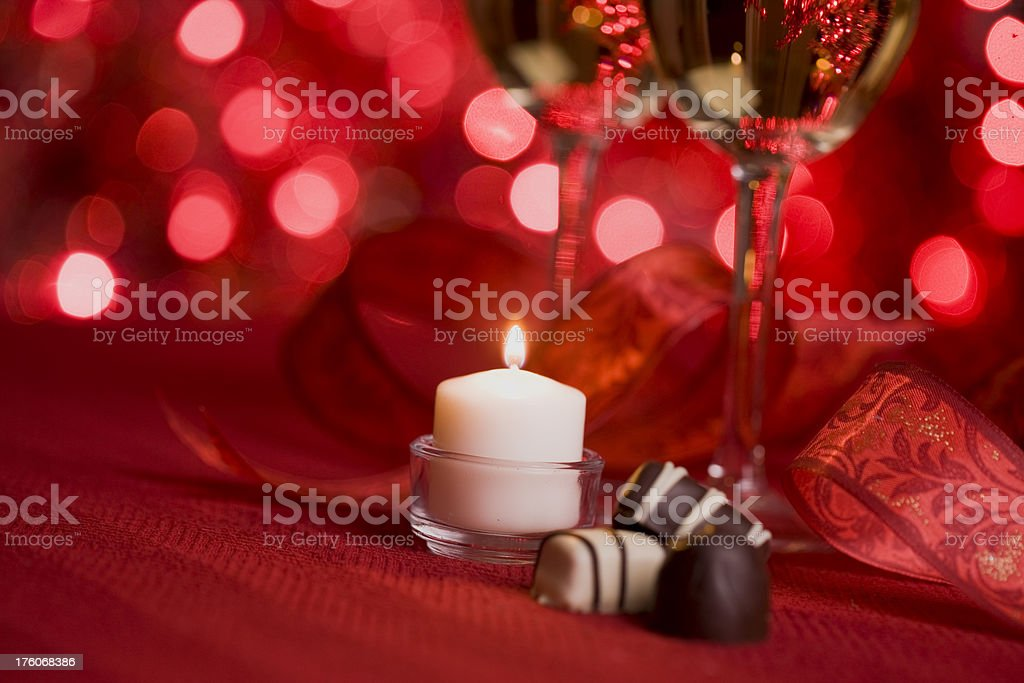 Wine, a Candle and Chocolates royalty-free stock photo