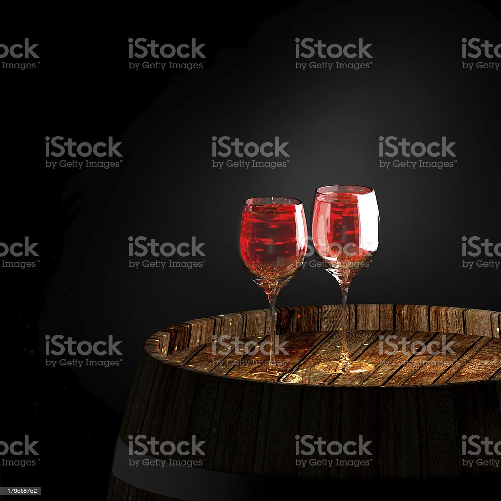 wine a on old barrel royalty-free stock photo