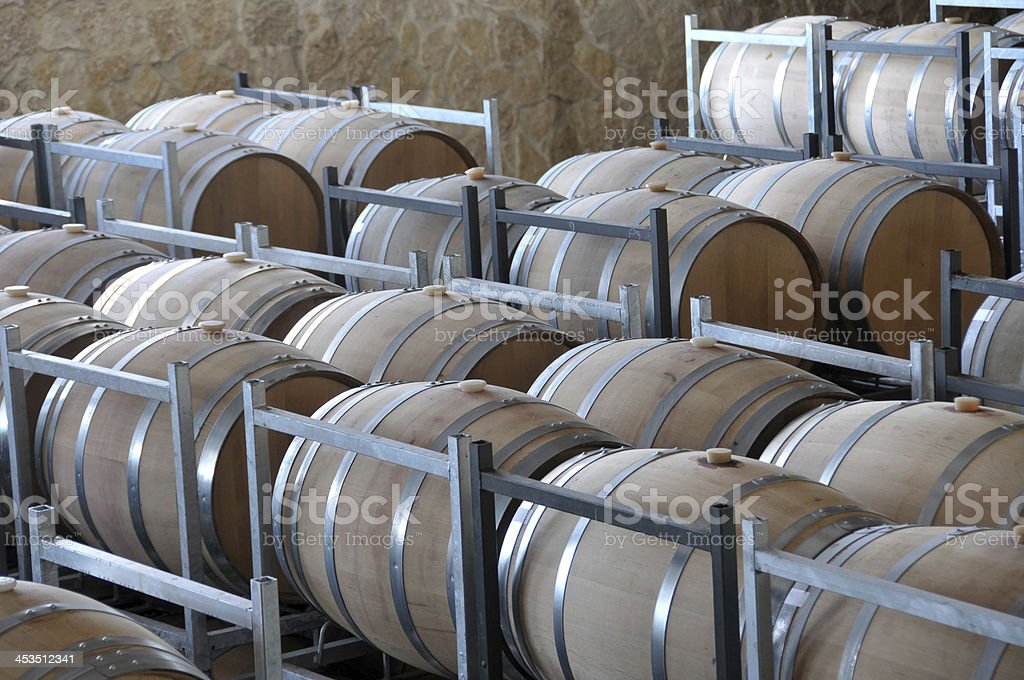 Wine aging in barrels royalty-free stock photo