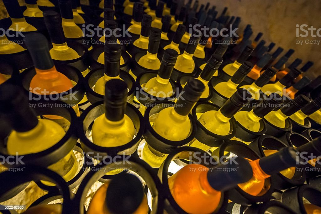 wine alcohol bottles racks stock photo