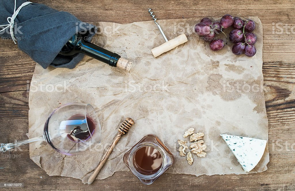 Wine and appetizer set with copy space stock photo