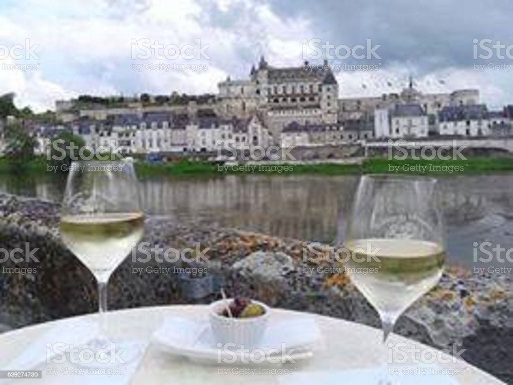 wine and appetizers in Amboise stock photo