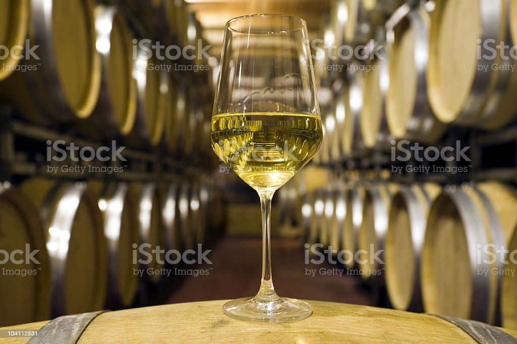 Wine and barrels royalty-free stock photo