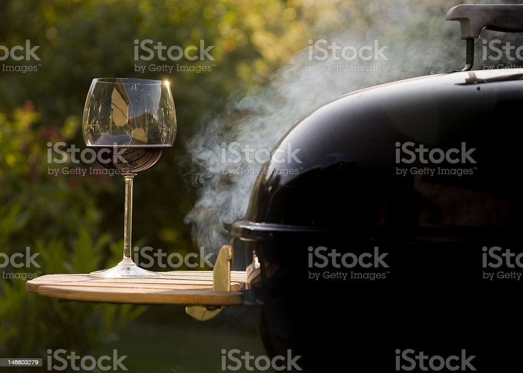 Wine and BBQ stock photo