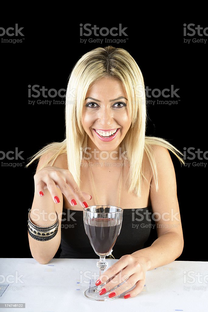 Wine and blonde royalty-free stock photo