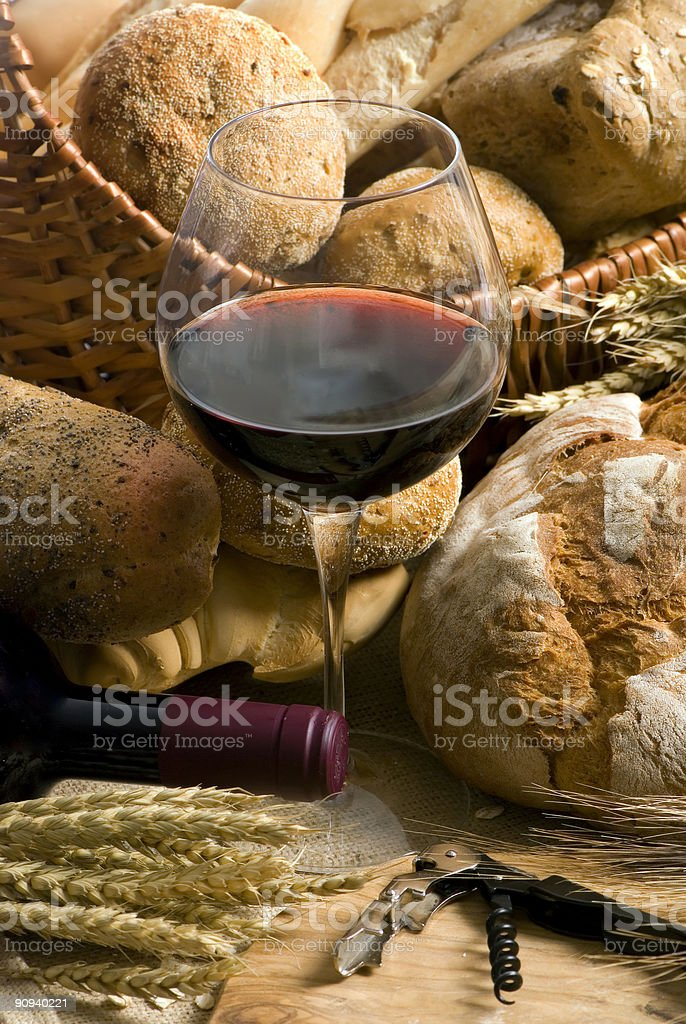 Wine and Bread 5 royalty-free stock photo