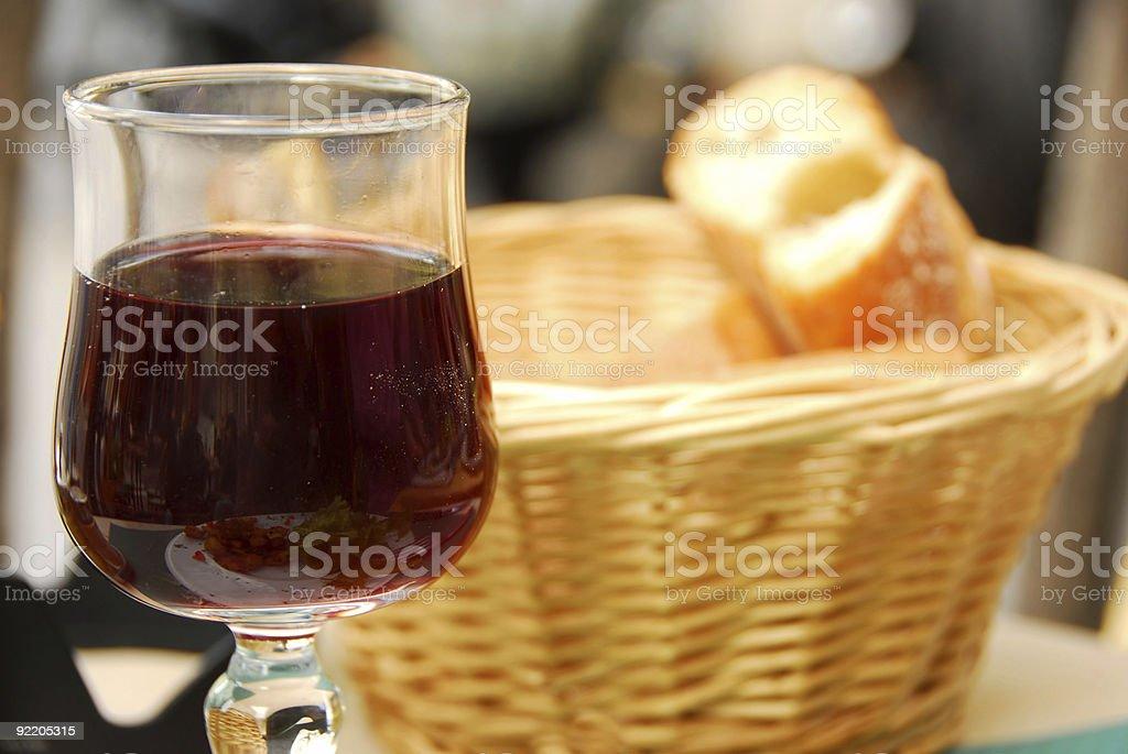 Wine and bread stock photo