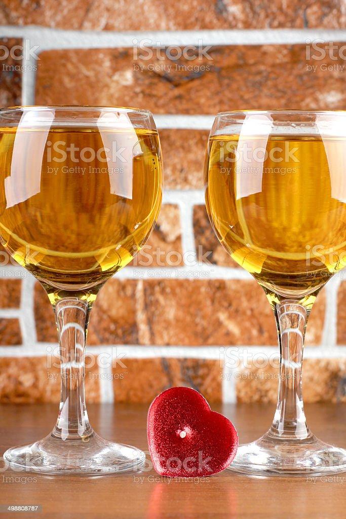 Wine and brick stock photo