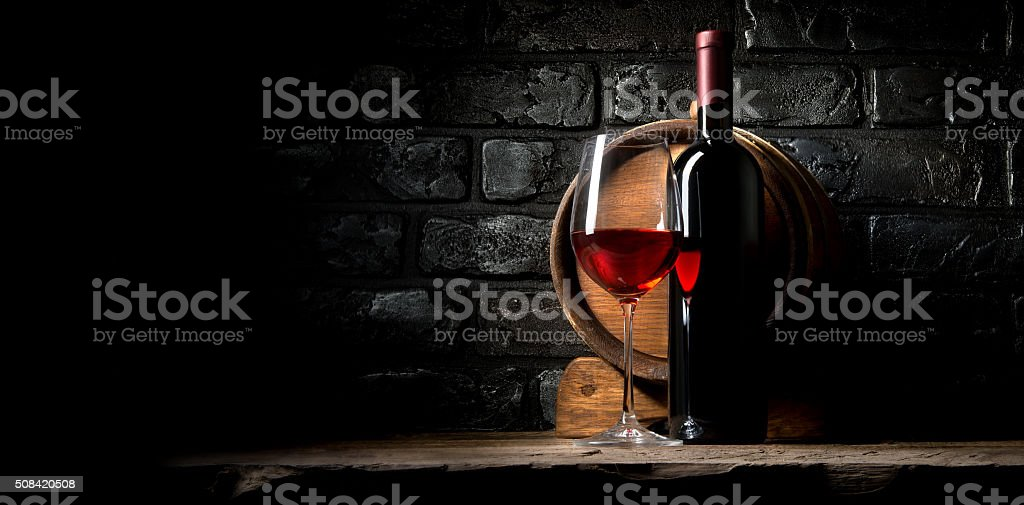 Wine and bricks stock photo